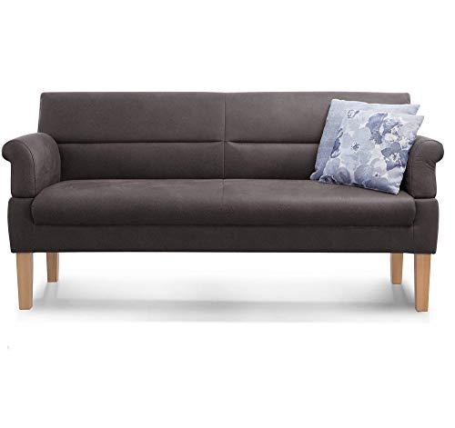 Cavadore 3-Sitzer Sofa Kira mit Federkern / Sitzbank für Küche, Esszimmer / Inkl. Armteilfunktion / 189 x 94 x 81 / Kunstleder grau