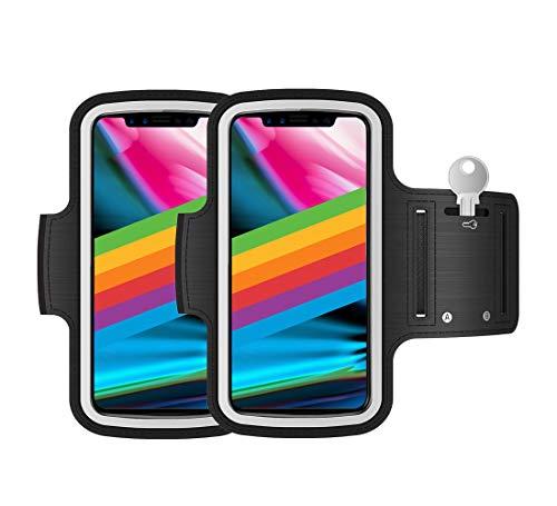 """Porta cellulare da corsa running Pack 2 pezzi valido per smartphone fino a 6,8"""" compatibile con iPhone 11 Pro MAX XS MAX 11 Samsung Galaxy S20 Plus S10 Plus S9 Plus S8 Plus (Nero)"""