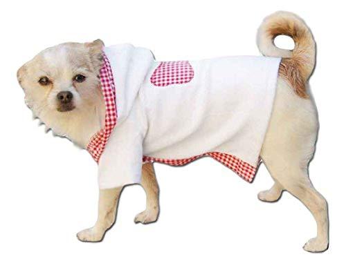 Seruna Bademantel in weiß-rosa mit Kaputze Jacke Hund Bekleidung für Hunde Hundebekleidung Hundemantel günstig M52 Gr. L