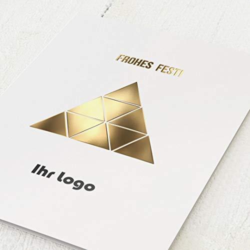 sendmoments Firmen-Weihnachtskarten im Set mit Veredelung in Gold, Goldschimmer, personalisiert mit Ihrem Firmenlogo & -Text, 12 Klappkarten, optional Umschlägen im gleichen Design