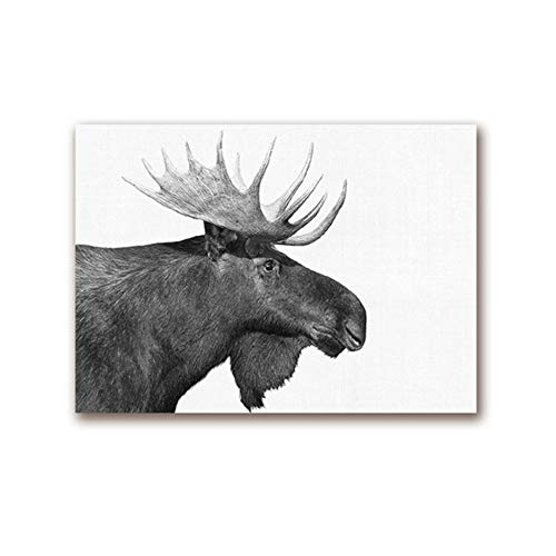 XIANGPEIFBH Wall Art Canvas Forest Animal Moose Farmhouse Poster Print Black White Photography Retro Wall Picture Farm Home Decor 60x80 cm/23.6' x 31.5' No Frame