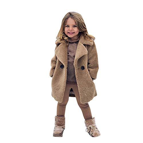 Jchen Kids Girls Winter Warm Faux Shearling Coat Thicken Lapel Collar Overcoat Dress Trench Coat Fleece Jacket Outerwear Khaki