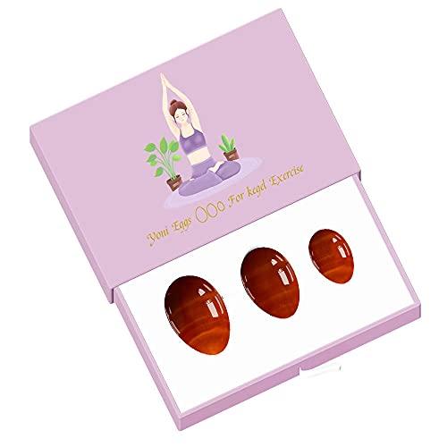 Huevos de Jade Juego de Huevos de Yoni de cornalina roja Natural Huevos de Jade PerforadosBola de Cristal Kegel Ejercicio-Undrill Huevo con Caja