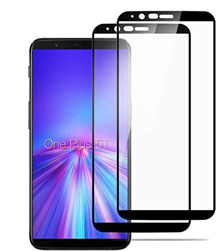 iPro Protectore de Pantalla OnePlus 5T(2 Pack),Cristal Templado,Vidrio Templado con [Cobertura Completa] [9H Dureza] [Alta Definicion] Glass Screen Protector-Negro.