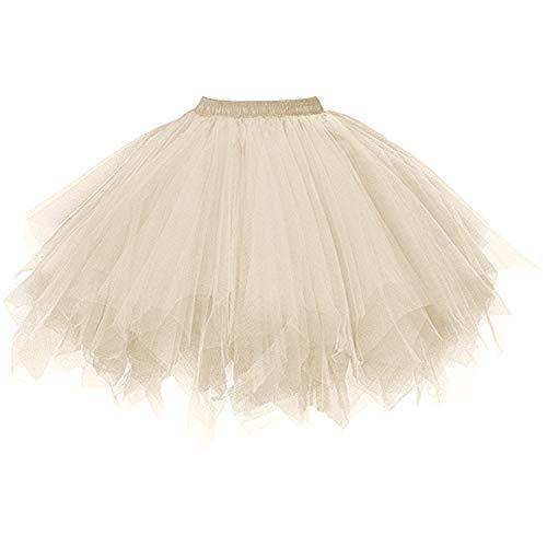 DresseverBrand Damen Petticoat 50er Rockabilly Jahre Retro Tutu Ballet Tüllrock Cosplay Crinoline Champagner Small/Medium