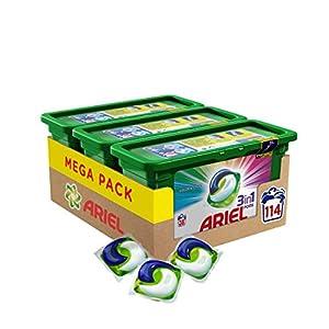 Ariel 3en1 Pods, Detergente en Cápsulas, Colour & Style, 3 x 38 Lavados, Limpieza Increíble, Limpia, Quita Manchas, Ilumina