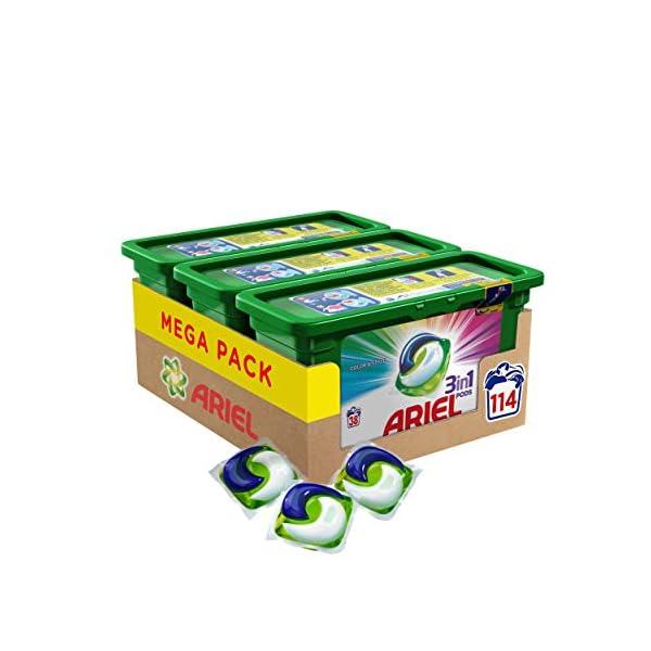 Ariel 3en1 Pods, Detergente en Cápsulas, Colour & Style, 3 x 38 Lavados, Limpieza Increíble, Limpia, Quita Manchas…