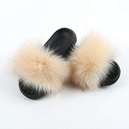 Perferct Chancla Puma Mujer,Nuevos Modelos de Zapatillas de Piel de Zorro, Sandalias de Pelaje de Piel Americanas, Damas, Visten a casa con una palabra-38-39_B