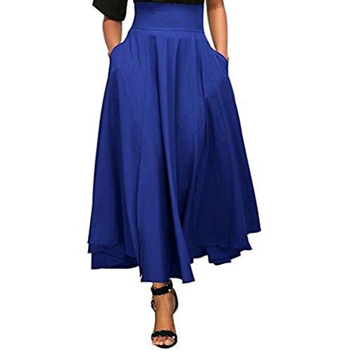 Kleider Damen Sommer Elegant Knielang Hohe Taille plissiert eine Linie Langen Rock vorne Schlitz Gürtel Maxi Rock Festlich Hochzeit Abendkleider Strand (Blau, XXL)