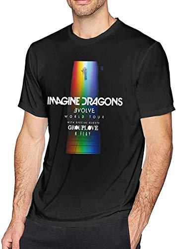 SASJOD Camisetas Imagine-The Dragons-Evolve Men's Classic Short Sleeve T-Shirt Black