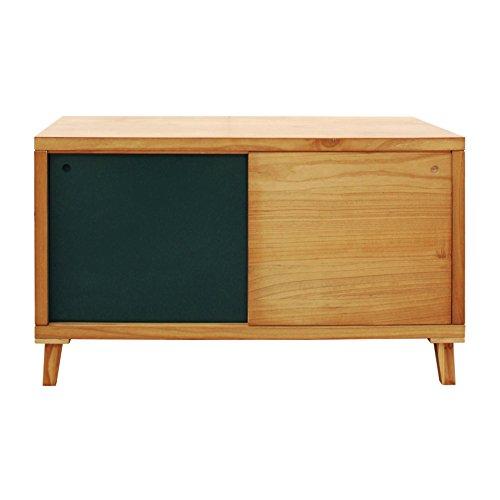 Rebecca meubelstuk Tv dressoir lage 2 deuren hout bruin groen woonkamer ingang modern (Art.RE6057)