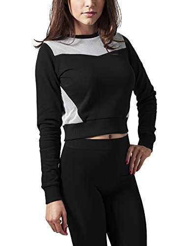 Urban Classics Damen Ladies Cropped Mesh Terry Crew Sweatshirt, Mehrfarbig (Blk/Wht 50), X-Small