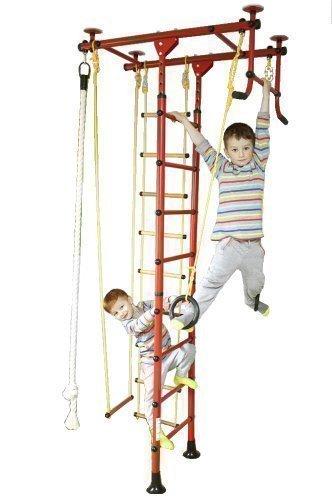 Sprossenwand, Indoor Klettergerüst, Heimsportgerät, 6 Farben, 3 Raumhöhen. Direkt vom Hersteller (Rot, für Raumhöhen von 220-270cm)