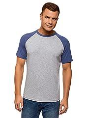 oodji Ultra Hombre Camiseta de Algodón con Mangas Raglán en Contraste