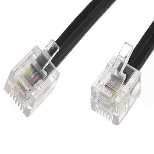 World of Data - Cavo Router Modem ADSL RJ11 Maschio BT a Banda Larga da 1 m - qualità Premium - Pin di Contatto placcati in Oro - Banda Larga Internet ad Alta velocità - Nero