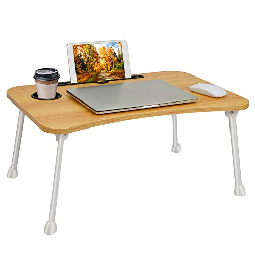 Laptop Table Bed Table Standing Lap Desk?Foldable Laptop Breakfast Serving Tray Bed Notebook Stand Portable Dining Table Writing,Studying,Adults Kids Eating Tray in Sofa Bed Floor (60x40 cm)- Walnut