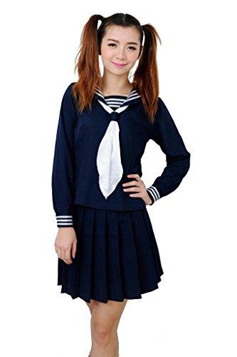 ROLECOS Damen Sailor Schuluniform Kleid Japanische Anime Lolita Matrosenanzug -  Blau -  Large