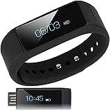 【日本正規代理店】I5 Plus スマートウォッチ ( 活動量計 / 歩数計 / 時計 / 消費 カロリー / 睡眠 / 走行 距離 / 遠隔 カメラ / リマインダー / 生活防水 / リストバンド ) OLED Bluetooth 4.0 / スマホ / iphone / アンドロイド / Samsung / アプリ 日本語対応 (ブラック)