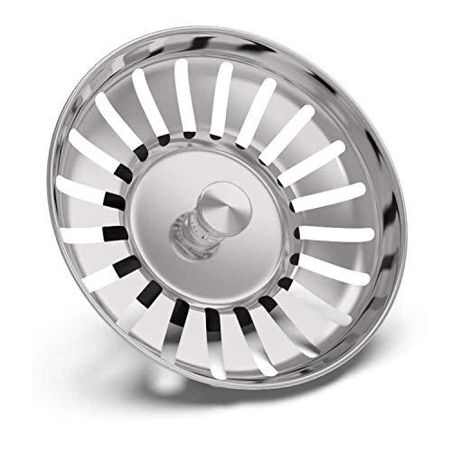 SUPRBIRD Filtro per Lavello da Cucina, 2 Pezzi Tappo Filtro Lavello Cucina in Acciaio Inox, Filtro di Scarico, Tappo Cestello per Lavabo Foro Colino, Ideale Come Ricambio per Lavello (82mm)