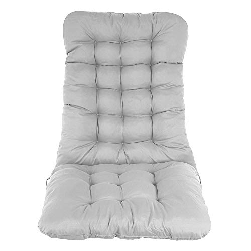 Sun Lounger Recliner Cushion, 120x50CM Garden High Back Chair Cushion Outdoor Garden Chair Cushion Portable Rocking Chair High Back Cushion for Indoor Outdoor Travel Holiday Beach (Gray)