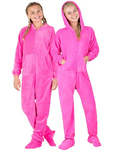 Footed Pajamas - Perfect Pink Kids Hoodie Chenille Onesie (Kids - XSmall (Fits 3'10-4'1'))
