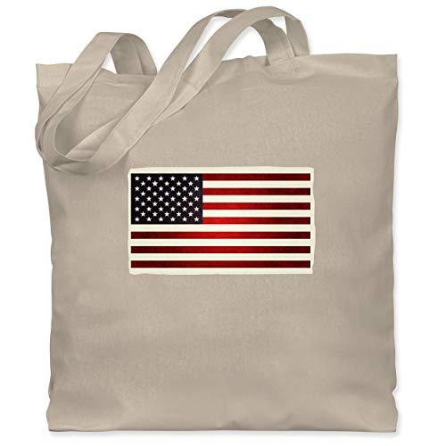 Shirtracer Kontinente - Flagge USA - Unisize - Naturweiß - used - WM101 - Stoffbeutel aus Baumwolle Jutebeutel lange Henkel