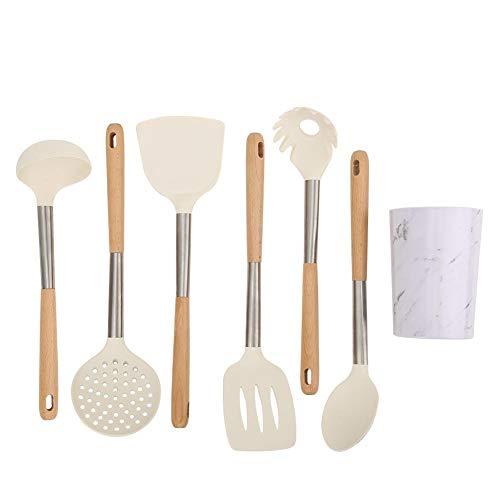 Set di utensili da cucina in silicone da 6 pezzi con supporto, kit cucchiaio cucchiaio spatola manico in legno in silicone per utensili antiaderenti