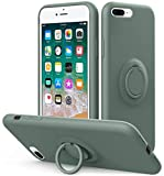 Vooii iPhone 8 Plus Case, iPhone 7 Plus Case Kickstand | Liquid Silicone | 10ft Drop Tested Protective, Microfiber Lining Shockproof Full-Body Cover Case for iPhone 8 Plus/7 Plus (Pine Green)