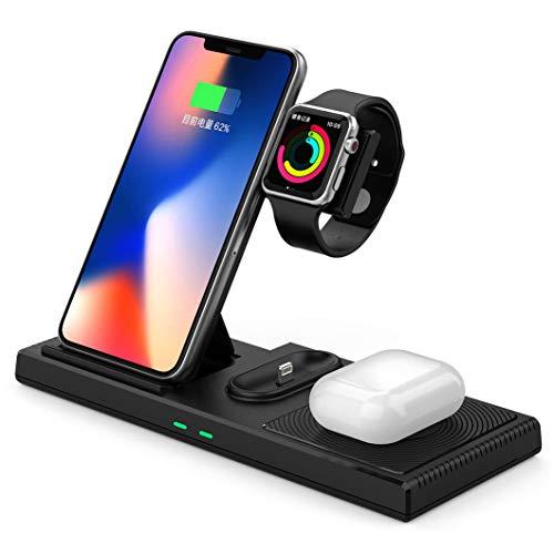 LTLJX 4 en 1 Soporte de Cargador Inalámbrico, Qi Estación de Carga Rápida Compatible con Apple Watch Series SE/6/5/4/3/2/iPhone 12/12 Pro Max/12 Mini/11/XR/SE 2020/XS/8/Airpods Pro/2