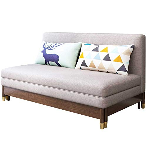 RJMOLU Convertible Sectional Sofa Sleeper Couch, Folding Futon Sofa Bed, Modern Fabric Reversible Sofa for Living Room/Bedroom/Guest Room,1.5m