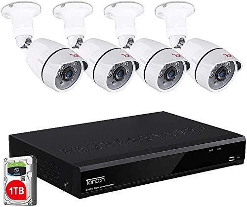 Tonton 8CH 1080P - Juego de videovigilancia para Exteriores (4 cámaras Full HD 1920TVL, Disco Duro de 1 TB, Alarma de Movimiento, Acceso rápido para Smartphone y PC), Color Blanco ⭐