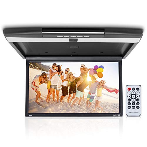 Car Overhead Monitor Screen Display - 17.3 inch. LCD Vehicle Flip Down Roof Mount Console - HDMI TV Player Control Panel w/ Built-in IR Transmitter for Wireless IR Headphone - Pyle PLRV1725