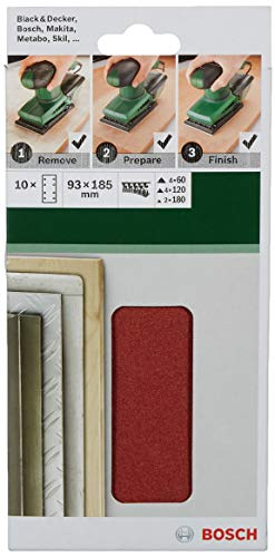 Bosch 2 609 256 A86 - Juego de hojas de lija de 10 piezas para lijadora orbital