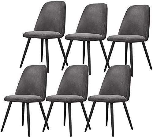 VEESYV Velvet Dining Chairs 6er-Set Metal Mit Metallbeinen Samtsitz Und Rückenlehnen Für Office Lounge Dining Kitchen Bedroom (Farbe : Grey)