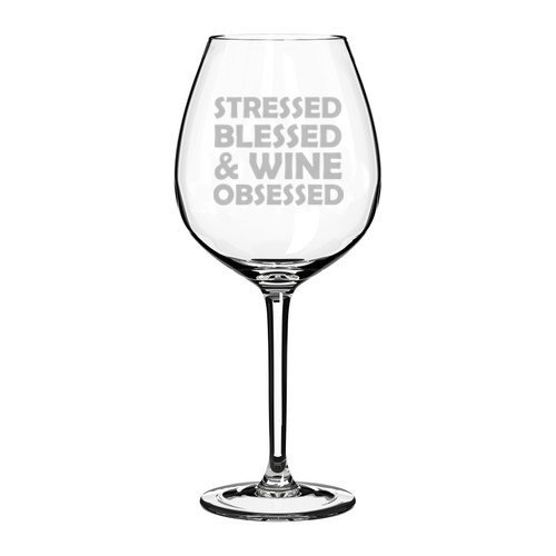Wijnglas beker benadrukt gezegend & wijn geobsedeerd (11 oz Jumbo)