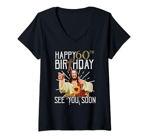 Mujer Happy 60th See You Soon Funny Birthday Camiseta Camiseta Cuello V