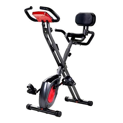 UIZSDIUZ Erguida la Bicicleta estática, Multifuncional Plegable de la Bici con Ajustable Resistencia y Monitor LCD, for el hogar de Entrenamiento de Ciclismo Indoor