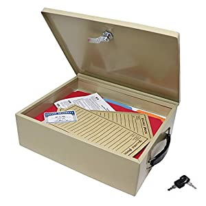 Nadex Steel Security Chest, Fire Retardant Box with Lock and Key | 14.5 x 11 x 4 Inch Fire Security Chest