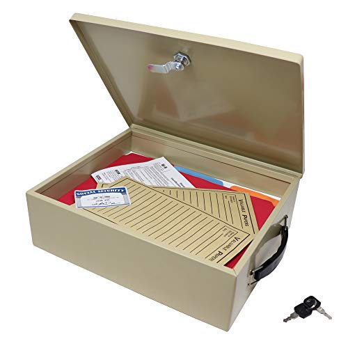 Nadex Steel Security Chest, Fire Retardant Box with Lock and Key   14.5 x 11 x 4 Inch Fire Security Chest