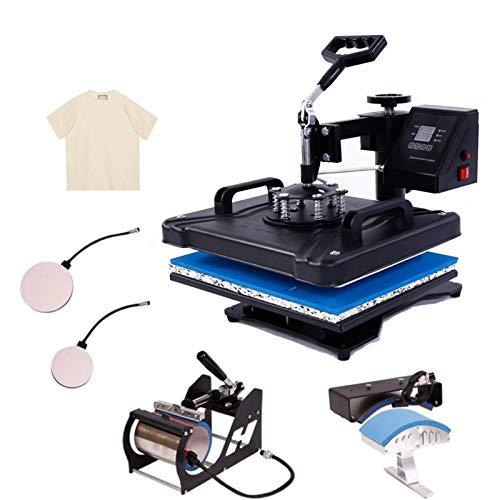 Tinkeal Heat Press Machine for t Shirts 5 in 1 Swing Away 12x15 Heat Press Machine Digital Transfer Sublimation Machine and HTV Vinyl Machine (Black, 5-in-1 Machine with Accessories)