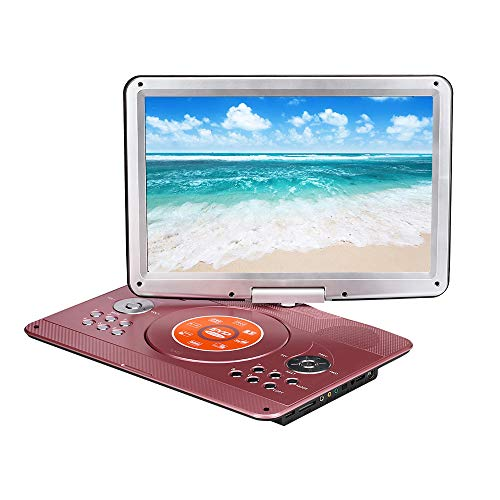 16.9'' Portable DVD Player with Remote Controller, 14.1'' HD Swivel Large Screen DVD Player for car, 6 Hours Rechargeable Battery Supports SD Card, USB Port(Rose Gold)