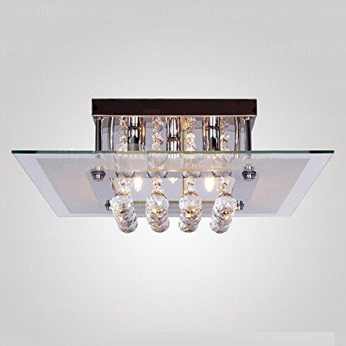 A1A9 Moderne Kristallleuchter mit 5 Lichtern, Elegant Droplet K9 Kristall Deckenleuchte, Quadratischer Glas Lampenschirm Pendelleuchte für Schlafzimmer, Wohnzimmer, Esszimmer, L40cm B40cm H17.5cm
