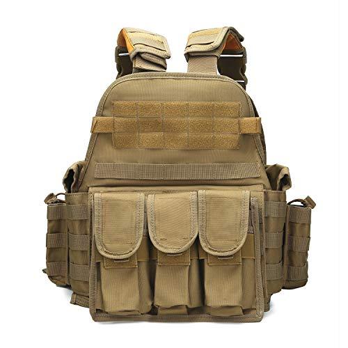 ABENAKI Heavy Duty Tactical Molle Airsoft Vest Paintball Hungting Combat Soft Vest (tan)