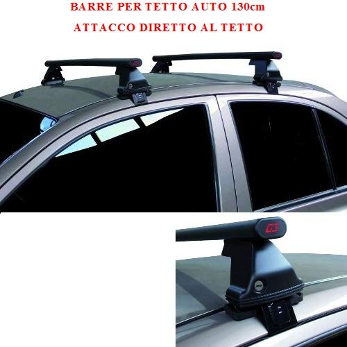 Compatible con Renault Megane Coupè 2p 2012 (68.037) Barras Rack DE Techo para Coche Barra DE 130CM para Coches con Accesorio Directo AL Techo SIN BARANDA Rack DE Techo Acero Negro