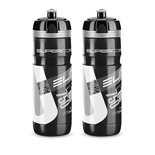 ECS ELITEGROUP Elite 0091753 Corsa Trinkflasche Super, 750 ml, schwarz/Silber (2 Stück)