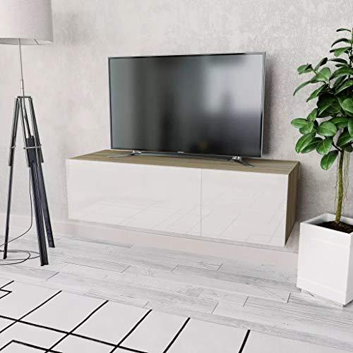 GOTOTOP Mueble TV de Pared con Cajon Estilo Moderno Mesa Flotante para TV Armario de Televisión Bajo para Colgar 120 x 40 x 34 cm