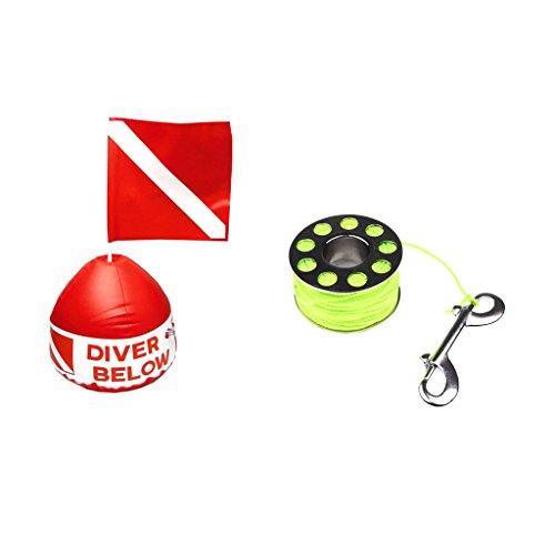 SM SunniMix Marcador de Bandera de Buceo con Boya + Rodillo de Dedo de émbolo de 31 M 2 Mm con