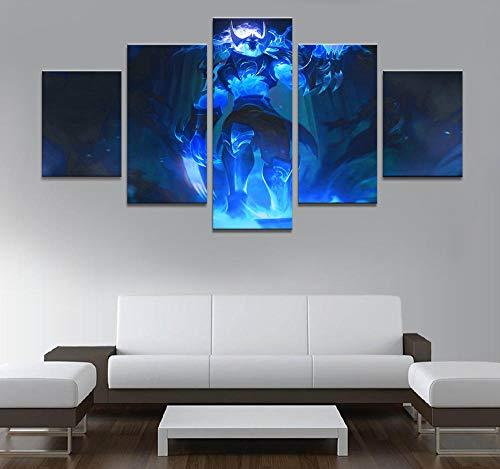 YOPLLL 5 Teilig Leinwand Wanddeko Gerahmtes Malerei Leinwanddrucke Geschenk 5 Stück Leinwand Bilder Moderne Wandbilder XXL Wohnzimmer Wohnkultur League of Legends Zed