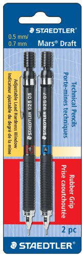 Staedtler Mars borrador Tech lápiz, 4h/3H/2H/H/F/HB/B, 0,5/0,7mm, cuerpo negro, 2por paquete (925asbk2)