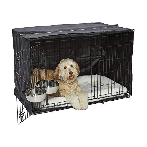 iCrate Dog Crate Starter Kit | 48-Inch Dog Crate Kit Ideal for XL Dog Breesd (weighing 90 - 110 Pounds) || Includes Dog Crate, Pet Bed, 2 Dog Bowls & Dog Crate Cover